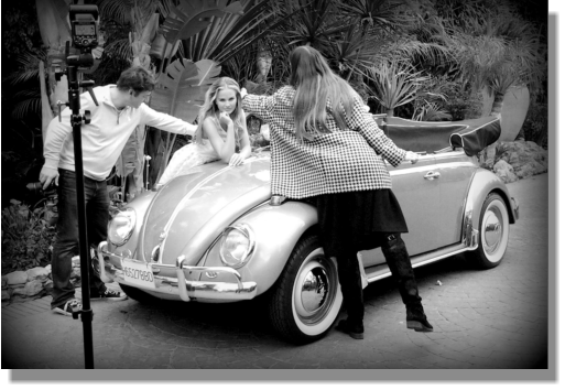 Top model posing with our flashing 66 Beetle